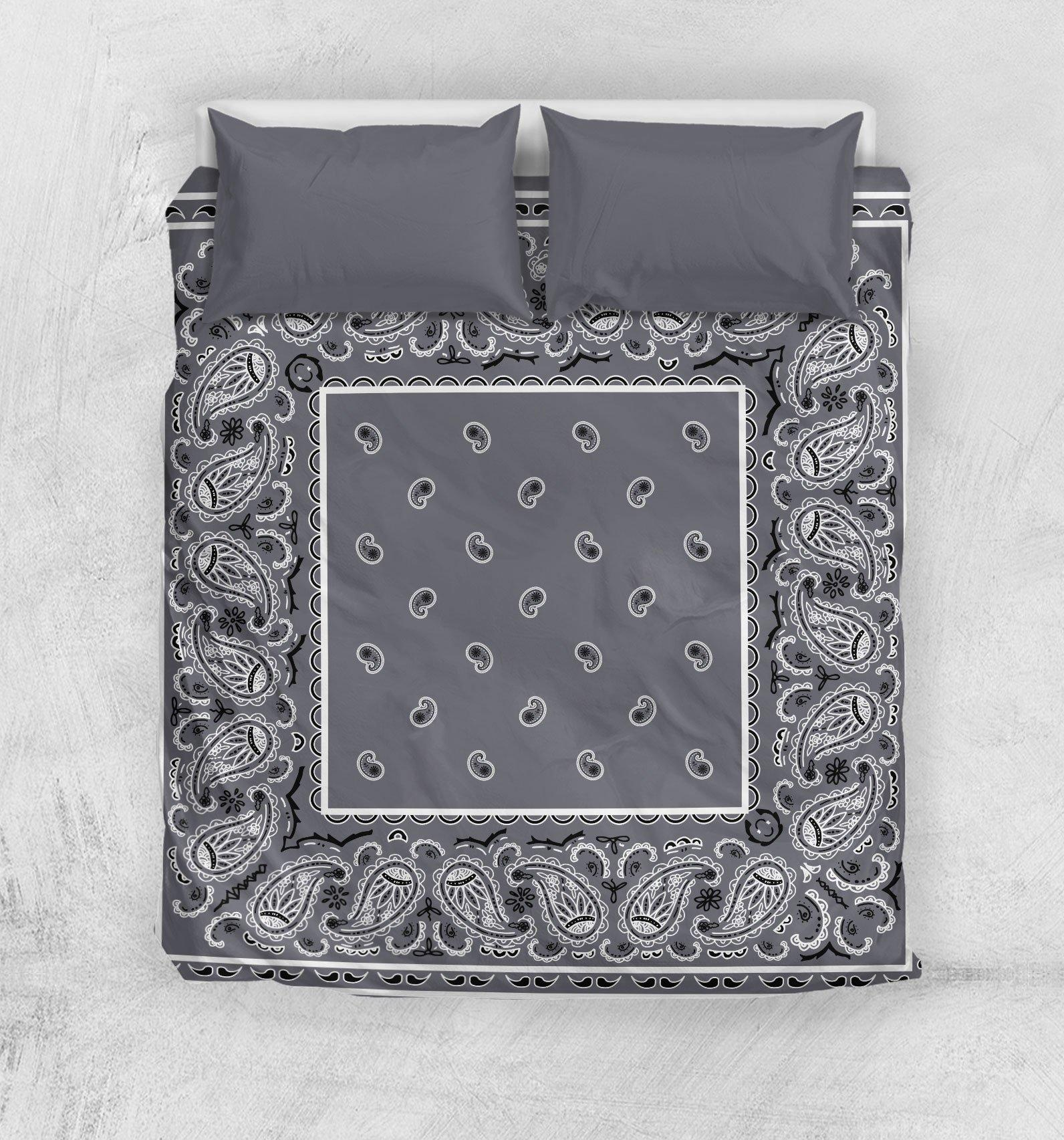 Classic gray bandana duvet cover bedding set - queen