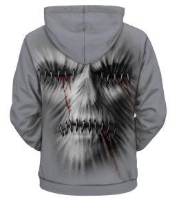 Creepy skull 3d hoodie - size XL