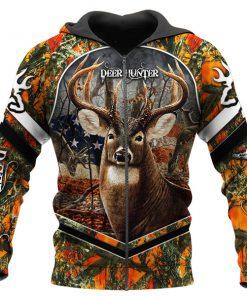Deer flag arrow full printing zip hoodie