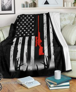Deer hunting american flag blanket