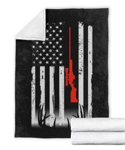Deer hunting american flag blanket - xlarge