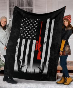 Deer hunting american flag blanket - youth