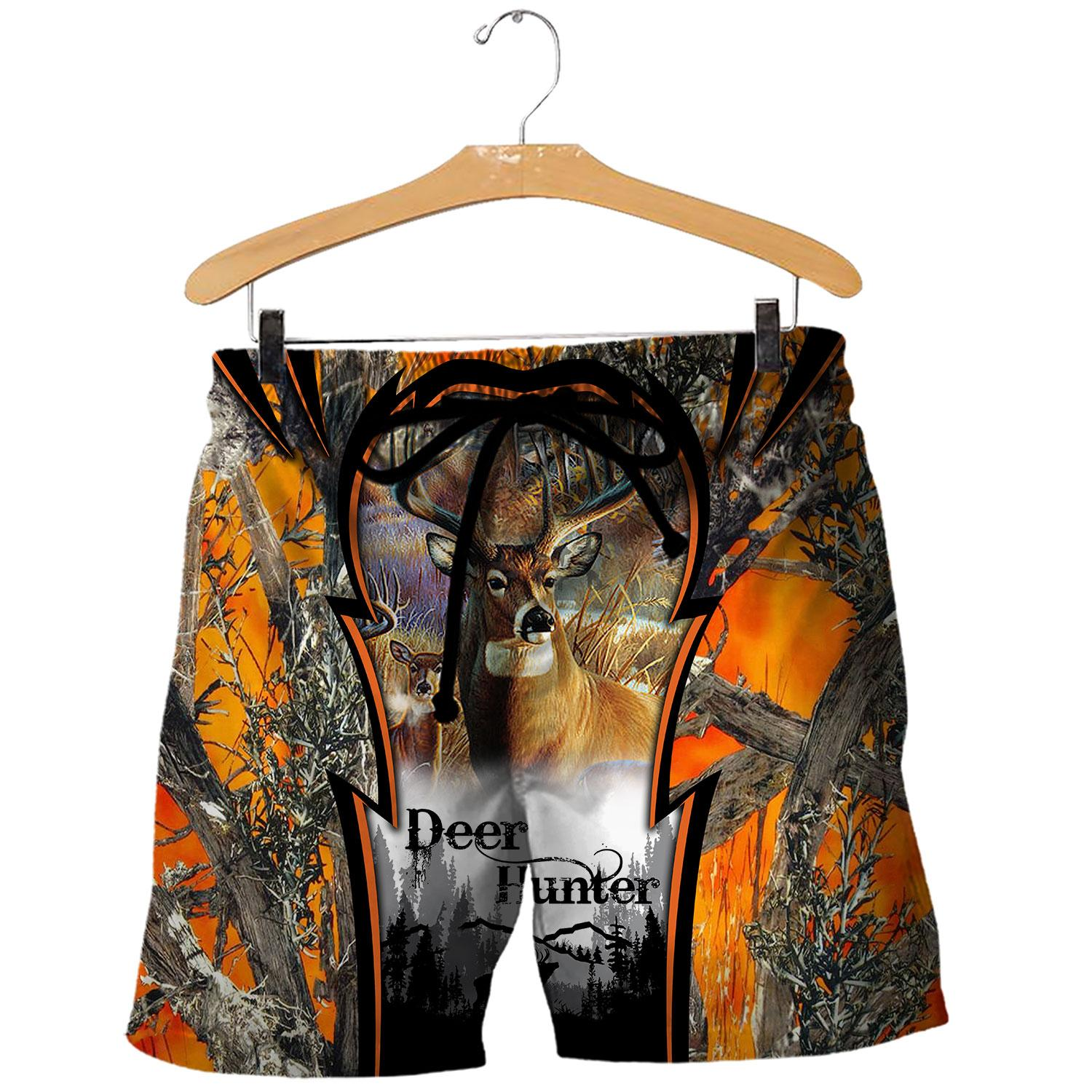 Deer hunting camo 3d all over printed shorts