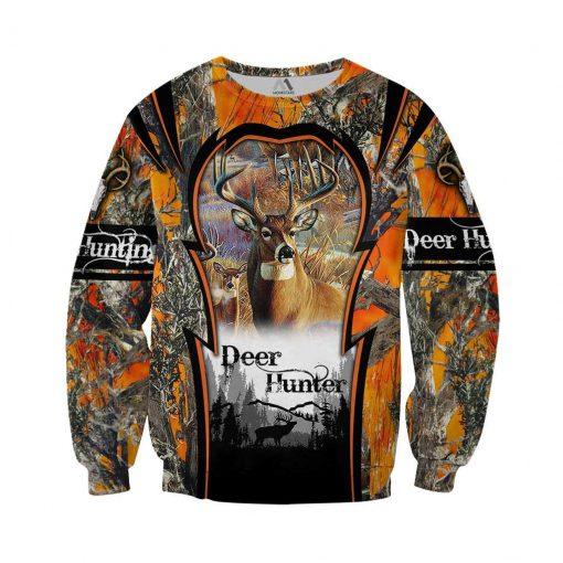 Deer hunting camo 3d all over printed sweater