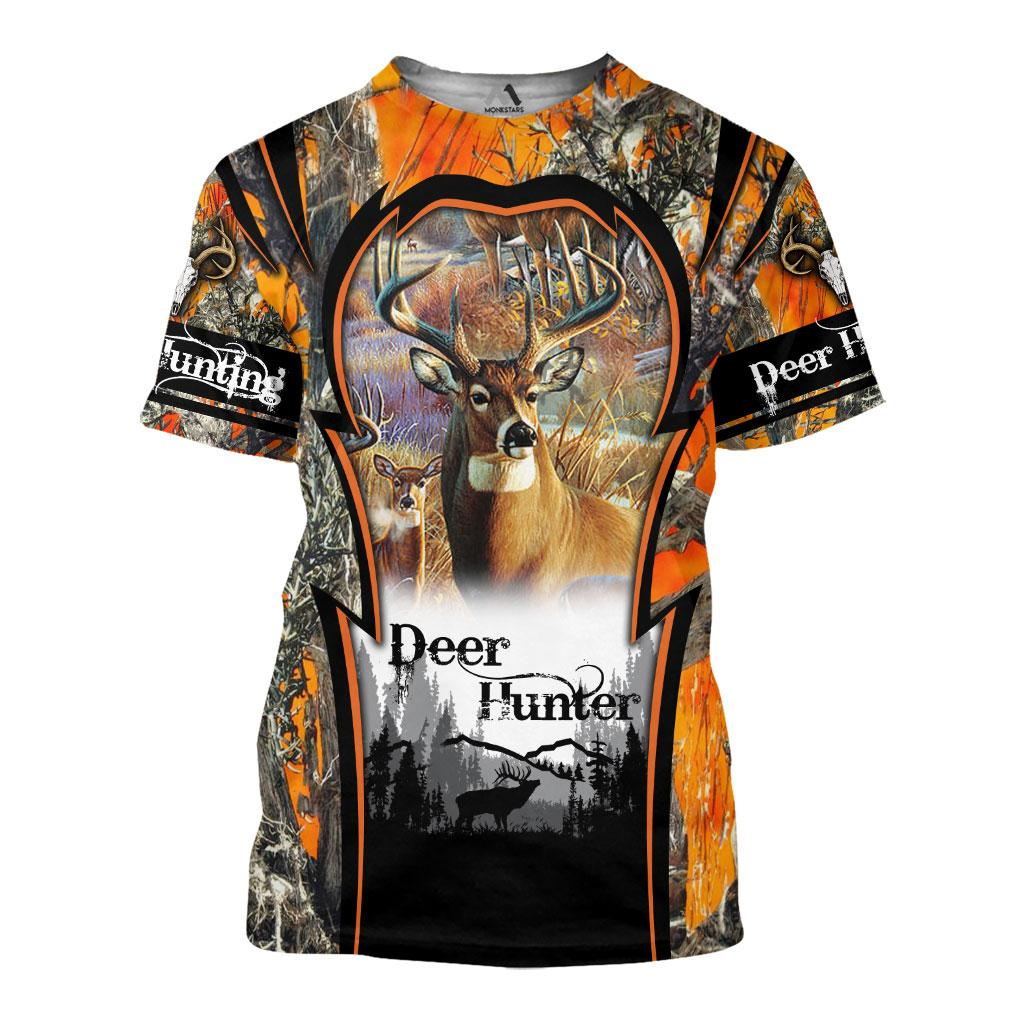 Deer hunting camo 3d all over printed t-shirt