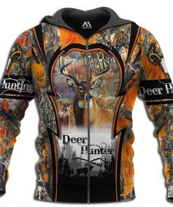 Deer hunting camo 3d all over printed zip hoodie