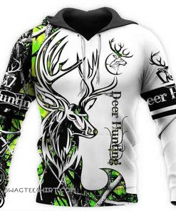 Deer hunting neon 3d all over printed hoodie
