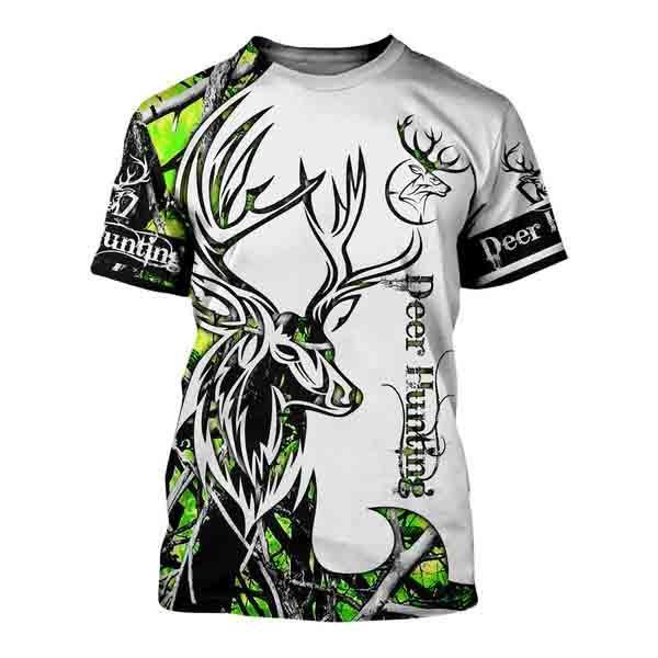 Deer hunting neon 3d all over printed t-shirt