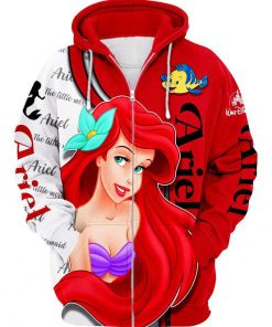 Disney ariel little mermaid 3d zipper hoodie