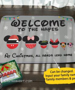 Disney mouse christmas personalized doormat