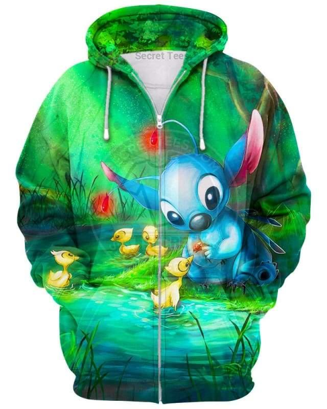 Disney stitch loves everything all over print zip hoodie