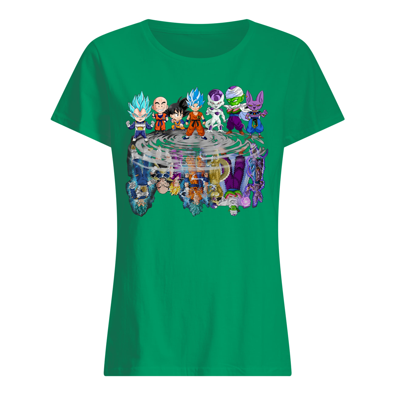 Dragon ball characters water mirror womens shirt