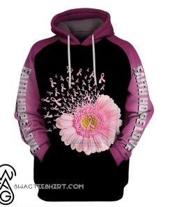 Faith hope love breast cancer awareness flower pink ribbon 3d hoodie