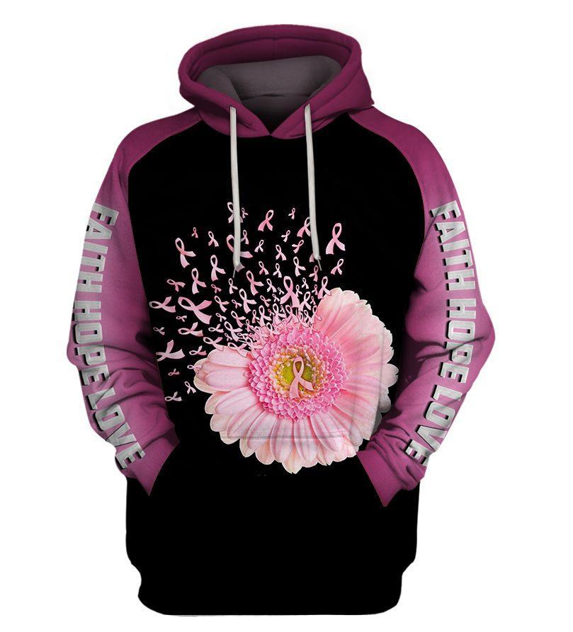 Faith hope love breast cancer awareness flower pink ribbon 3d hoodie - size S