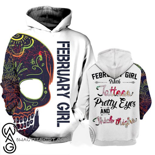 February girl with tatoos pretty eyes and thick thighs 3d hoodie