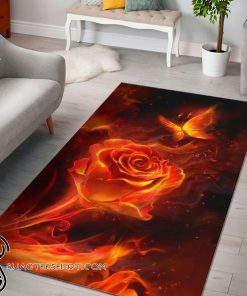 Fiery rose and butterfly rug