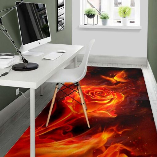 Fiery rose and butterfly rug - large