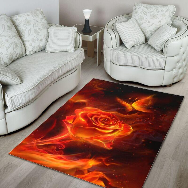 Fiery rose and butterfly rug - medium