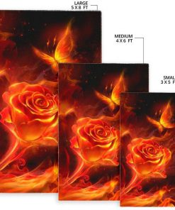 Fiery rose and butterfly rug - original