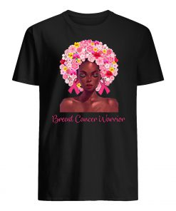 Floral black woman breast cancer warrior mens shirt