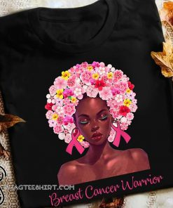 Floral black woman breast cancer warrior shirt