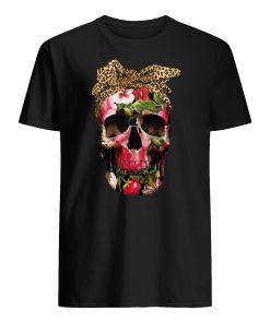 Floral skull leopard mens shirt