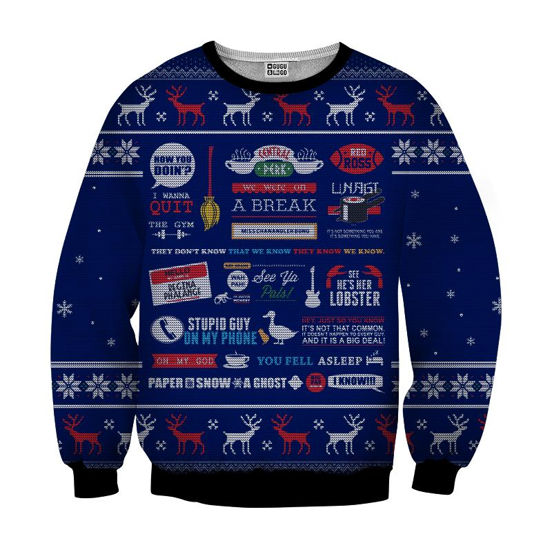 Friends tv show full quotes 3d ugly sweater - navy - original