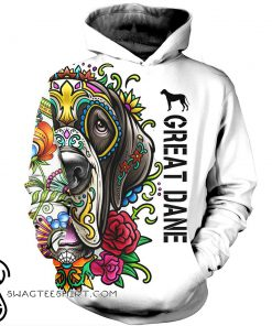 Great dane day of the dead sugar skull dog 3d hoodie