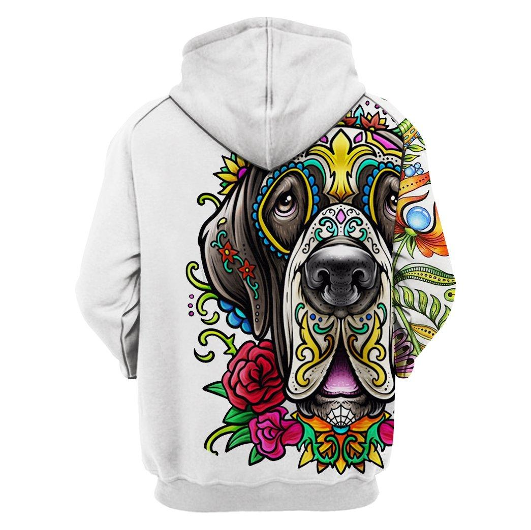 Great dane day of the dead sugar skull dog 3d hoodie - back