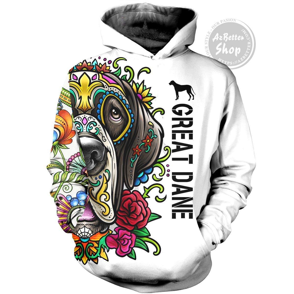 Great dane day of the dead sugar skull dog 3d hoodie - front