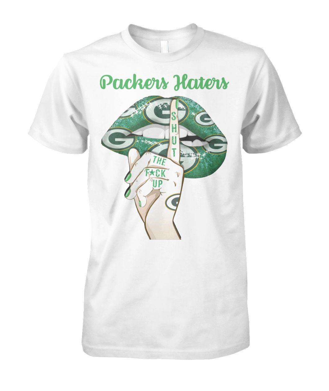 Green bay packers lips packers haters shut the fuck up unisex cotton tee