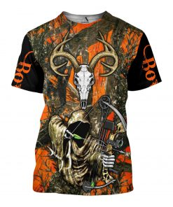 Grim reaper bow hunter camo 3d all over printed tshirt