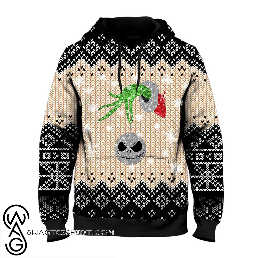 Grinch hand with ornament jack ugly christmas all over print hoodie