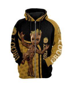 Groot 3d full printing zip hoodie