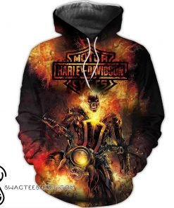Happy halloween harley-davidson motorcycles 3d all over printed hoodie