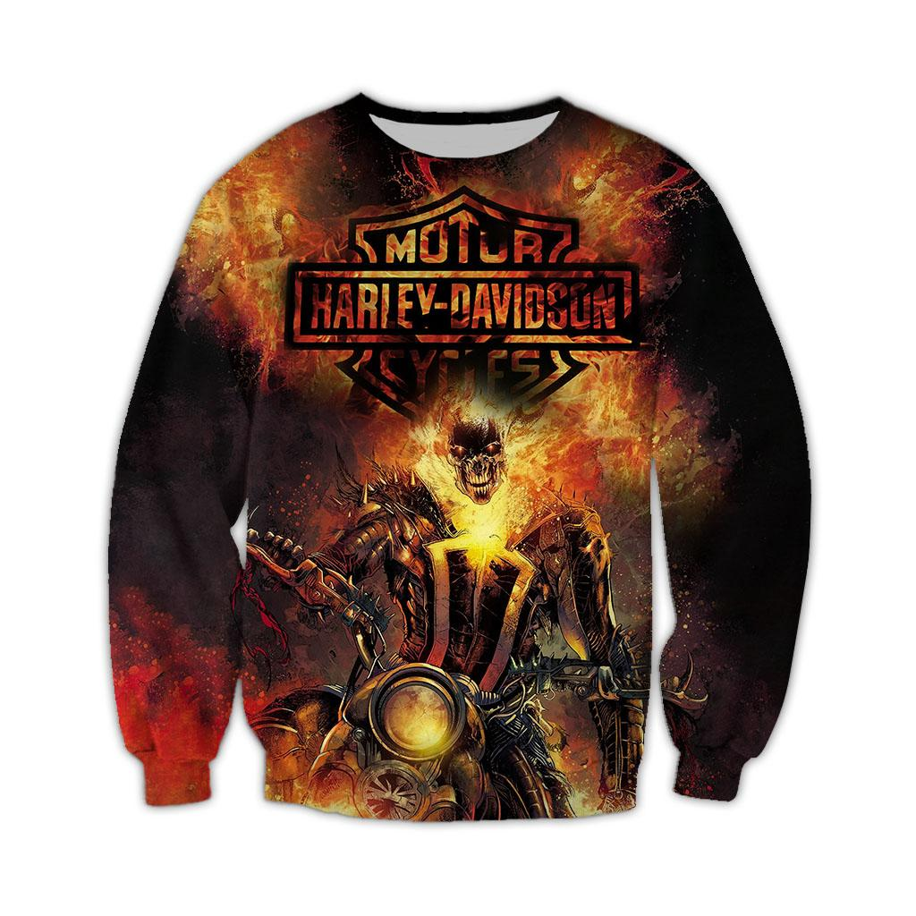 Happy halloween harley-davidson motorcycles 3d all over printed long-sleeved shirt
