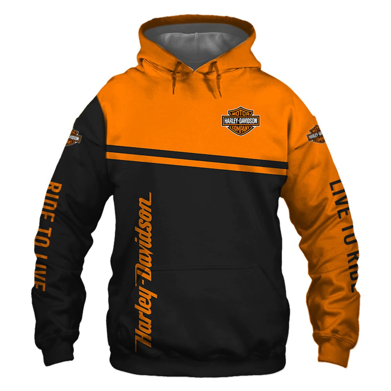 Harley-davidson motorcycle snoopy screw it let's ride all over print hoodie - front