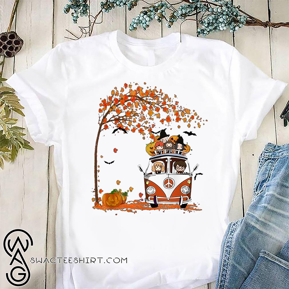 Harry potter driving car halloween autumn fall season shirt