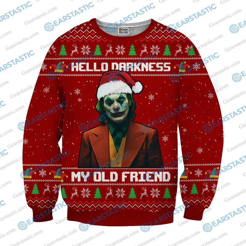Hello darkness my old friend joker ugly christmas sweater - red