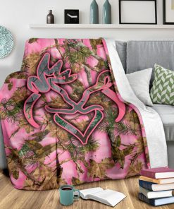 Her buck his doe pink camo blanket - large