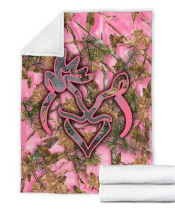 Her buck his doe pink camo blanket - xlarge