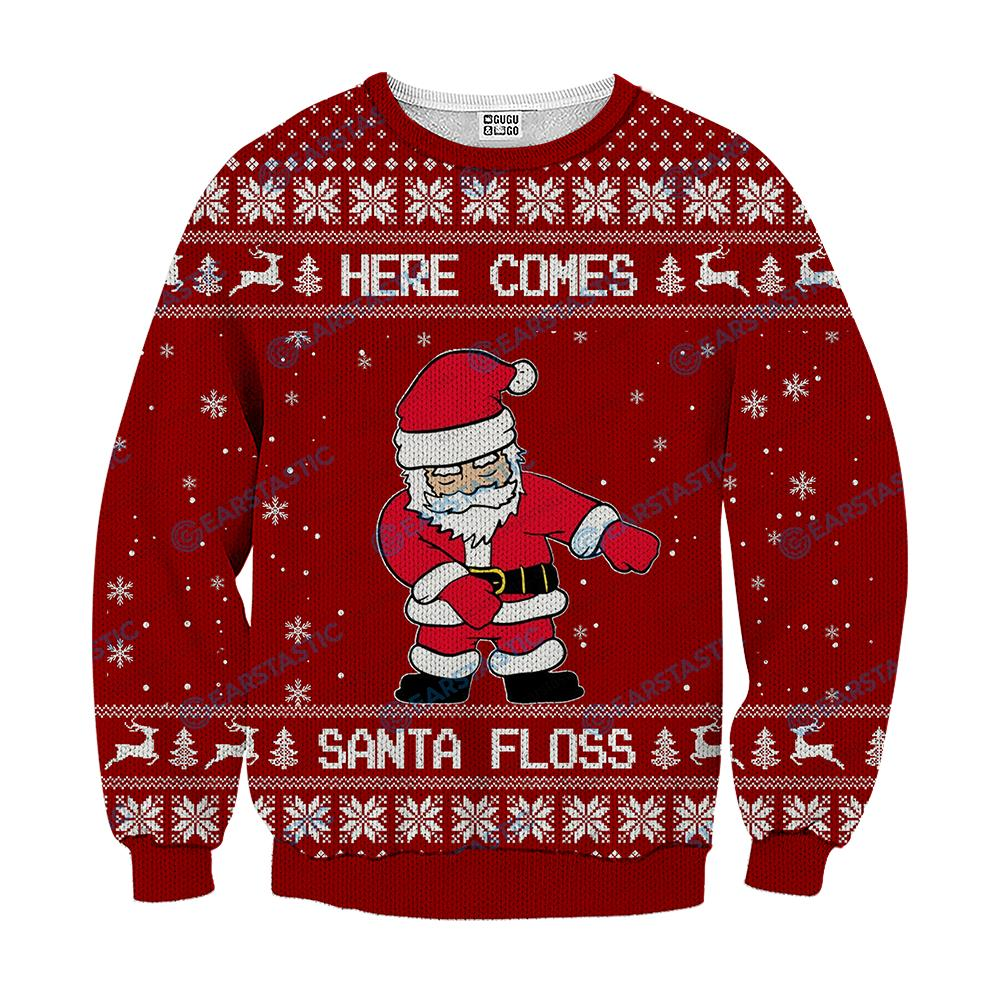 Here comes santa floss ugly christmas sweater - red