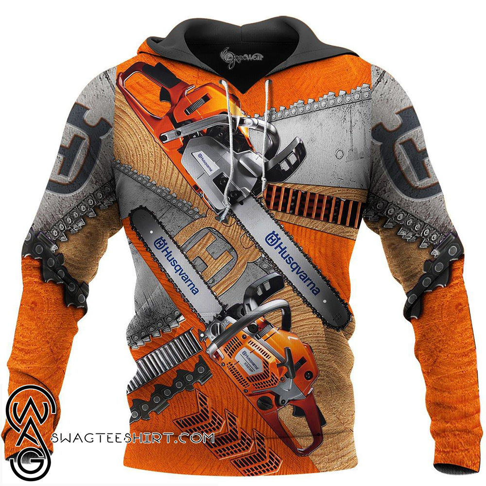 Husqvarna chainsaw 3d all over printed hoodie