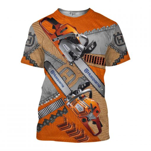 Husqvarna chainsaw 3d all over printed t-shirt