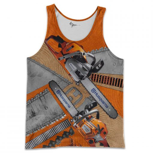 Husqvarna chainsaw 3d all over printed tank top