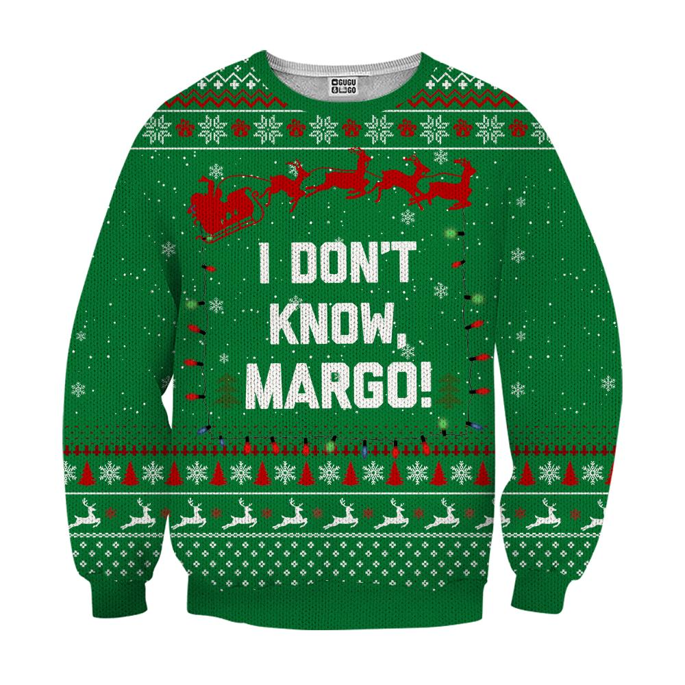 I don't know margo ugly christmas sweater - green