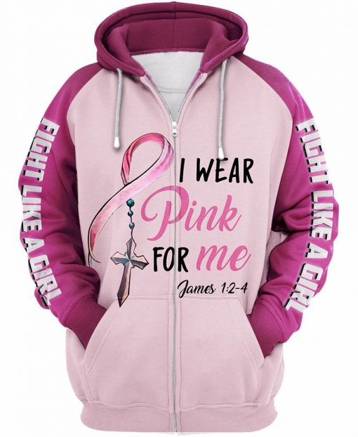 I wear pink for me breast cancer awareness 3d zipup hoodie