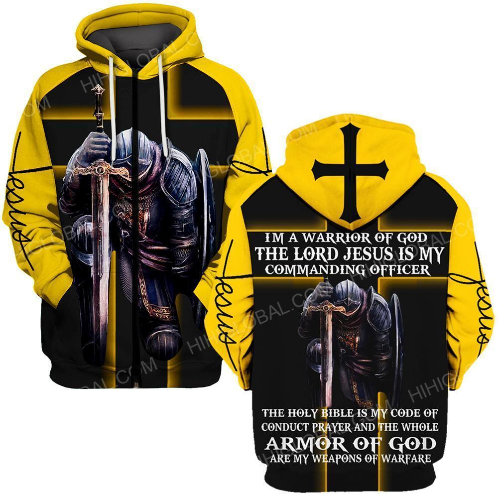 I'm a warrior of God the lord Jesus is my commanding officer all over printed zip hoodie