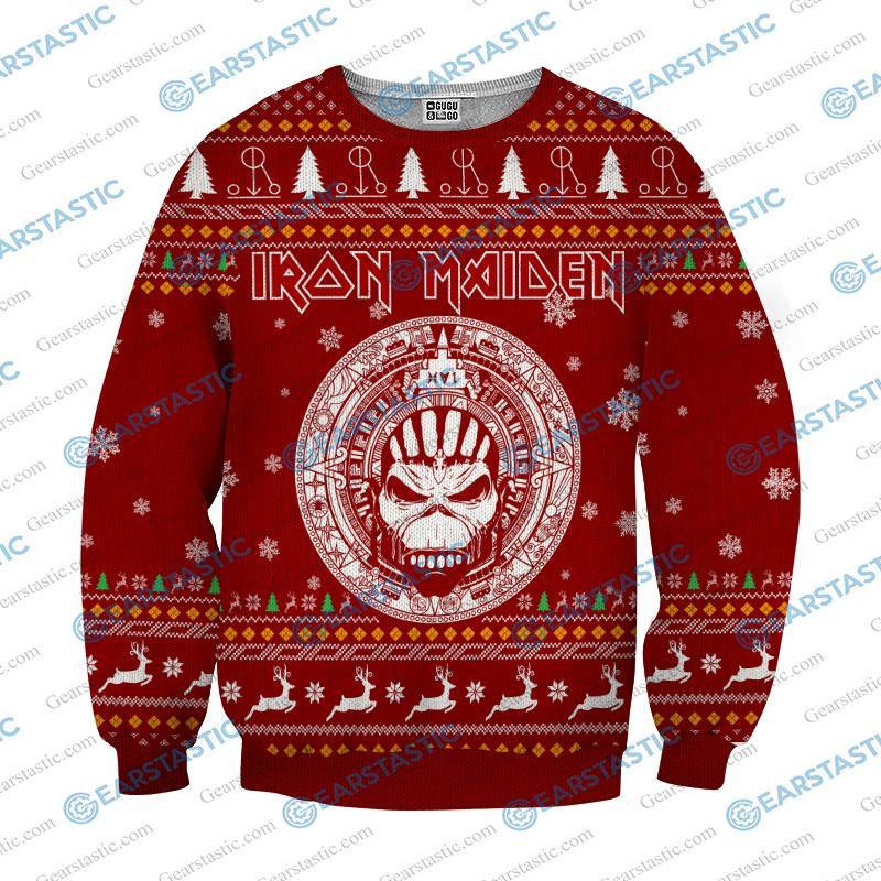 Iron maiden ugly christmas sweater - red