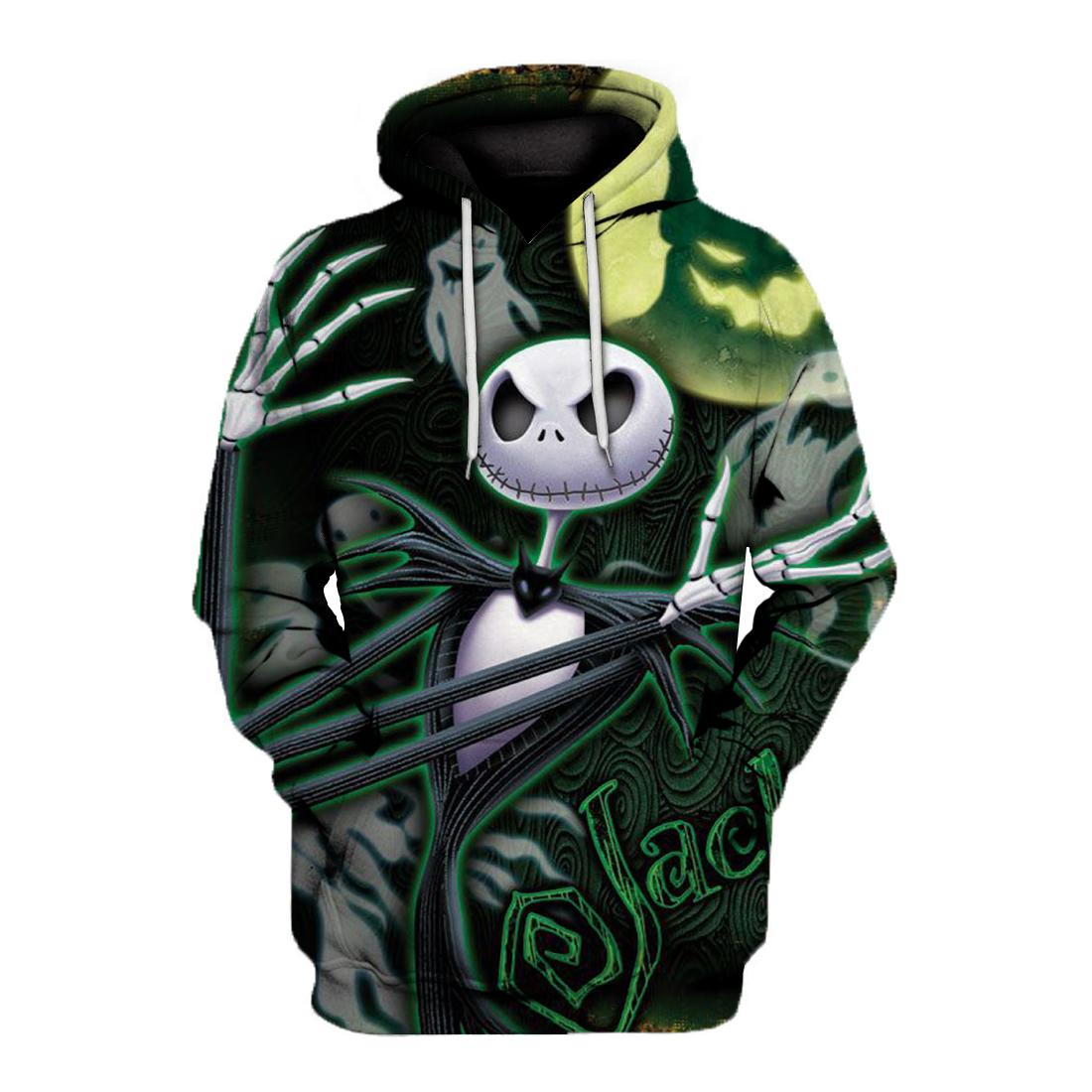 Jack skellington and ghost all over print hoodie - maria